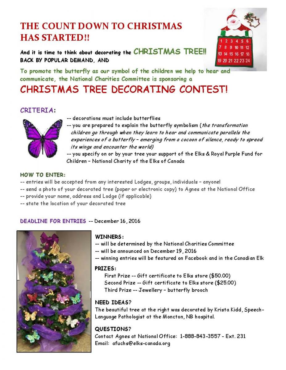 Elks Of Canada Christmas Tree Decorating Contest Flyer