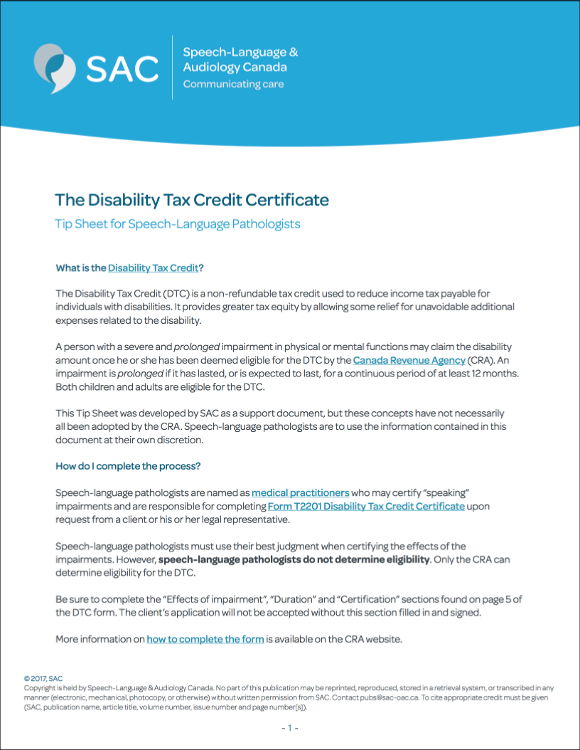 Child disability tax credit form